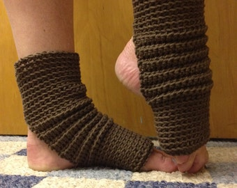 Yoga Socks in Deep Taupe Cotton US Grown -- for Yoga, Pilates, Dance, Pedicures