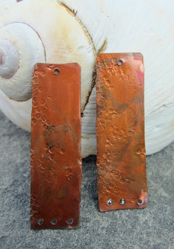 LARGE Rectangle Earring Charm Torch Fired Copper