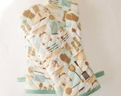 Oven Mitts - Aqua and Brown Utensils on Cream - Gift Under 40 - Gift for Foodie - Gift for Mom