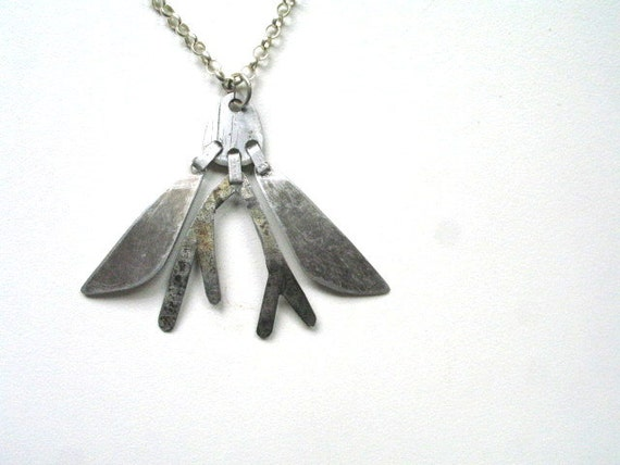abstract modern salvaged metal necklace / FLY TO ME