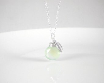 Mint green apple necklace on sterling silver chain, mint chalcedony necklace