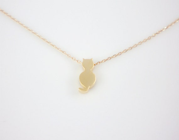 Gold cat necklace - 14k gold filled chain and clasp