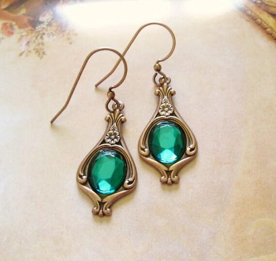 Green crystal earrings - St Patrick women gift - Baroque Renaissance Victorian Slytherin