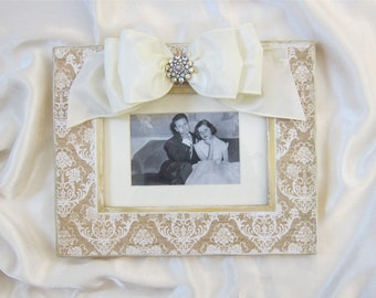 Picture Frame with Bow White Wedding Baby Personalize Jeweled Wedding Damask Vintage Photo