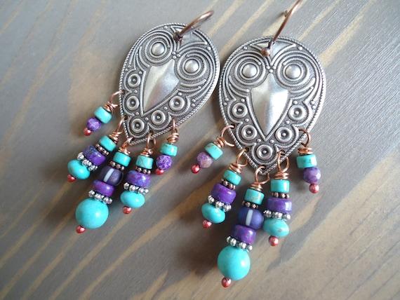 Tribal Chandelier Earrings, Boho Jewelry, Fall Fashion, Hippie Gypsy Jewelry, Turquoise Purple Earrings, Mixed Metal