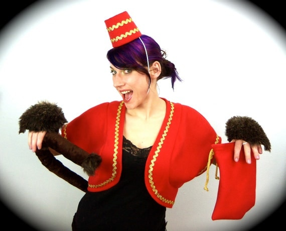 circus monkey costume, hat, vest, peanut bag, tail, hand fluffs, halloween, circus, sz M-L, adult costume, party, free u.s. shipping