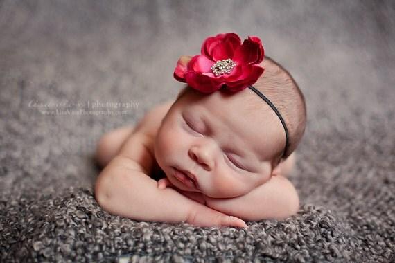 Baby Headband. Baby Pink Flower Headband. Baby Girl Hot Pink Flower Headband..Infant Pink Flower Headband..Newborn Hot Pink Flower Headband