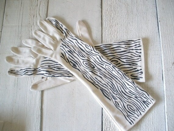 Vintage white gloves mid length hand painted woodgrain