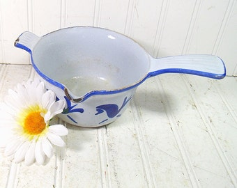Lovely Old Cobalt Blue Enamel Cast Iron Petite Cooking Pot - Vintage Scandinavian Style Painted Pottery Pan - Cottage Shabby Chic Decor