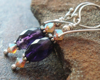 Faceted Amethyst Earrings |  Sand Opal Swarovski and  Sterling Silver | Amethyst Jewelry | Gemstone Earrings | Classic