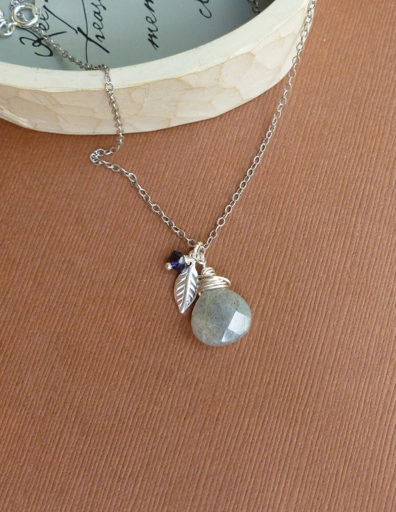 Sterling Silver Labradorite with Sterling Leaf and Iolite Necklace -- Sterling Silver Stone Charm Necklace with oxidized sterling chain