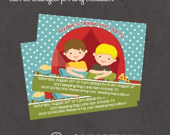 Boys Sleepover Invitation 4x6 or 5x7 digital you print your own- Design 74