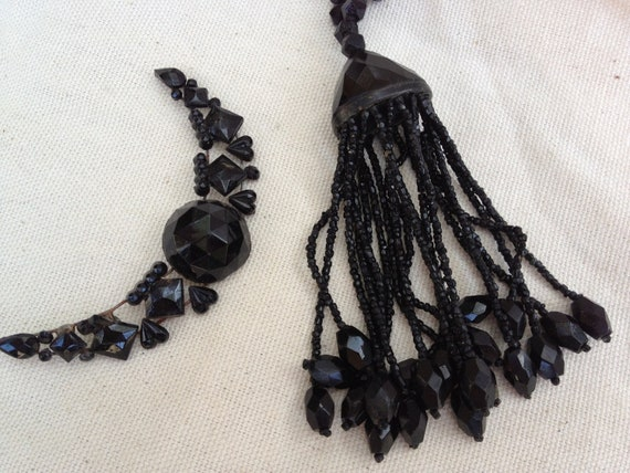 Victorian Black Jet Glass Tassel and moon shape ornament mourning