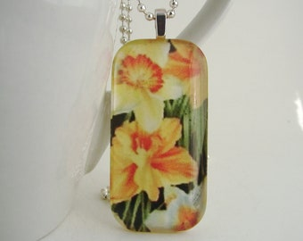 Daffodil Rectangle Pendant with Free Necklace