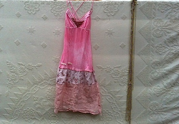 FOR TRICIAwinter party Pink babydoll  Abercrombie Eco hand dyed holidays cotton gift rustic dress tunic babydoll
