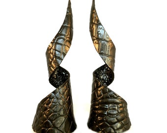 Black Leather Celestial Dragon Demon Goblin Horns Headdress Furry Cosplay Fantasy Goth Gothic Fashion Accessory