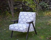 Vintage mid century modern accent Chairs, Fully Restored in Beautiful Grey upholstery fabric by robert allen