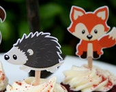 Cupcake Toppers - Woodland Creatures Party- Woodland Baby Shower - Woodland Birthday Party -  Birthday Party-  Set of 12