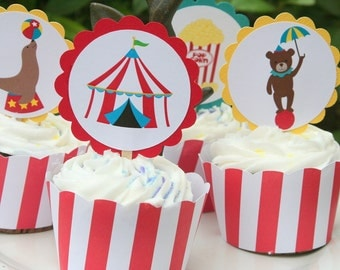 Circus Carnival Party Assorted Scallop Cupcake Toppers Set of 12