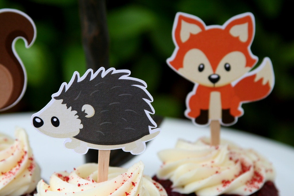 Cupcake Toppers Woodland Creatures Party by PaperPartyParade
