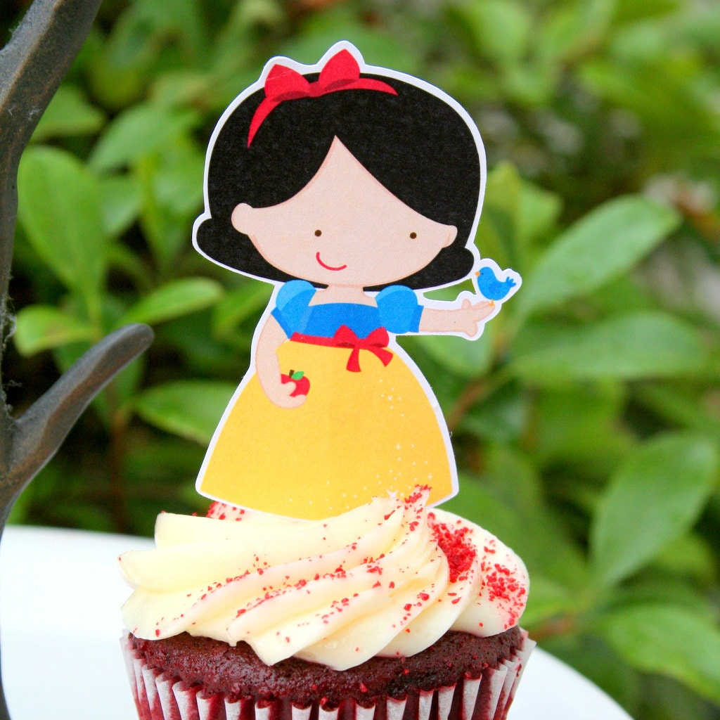 Snow White Party Cupcake Toppers Set of 12