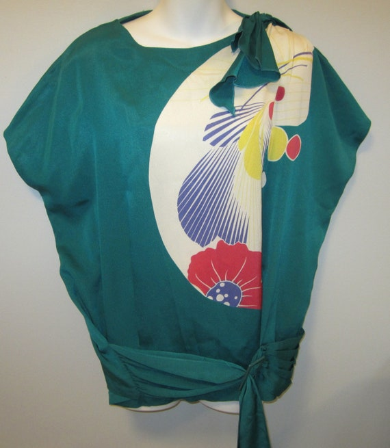vintage 80's Artsy Pop Art Dolman Sleeve Silky Tunic Top