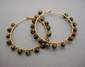 SALE Pyrite and Gold wrapped Hoops