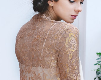 Rosalie couture french lace bolero shrug cover up rose gold S - M