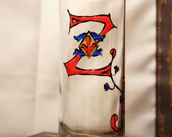 "Initial ""Z"" - Handpainted Illumintated Letter - Celtic Style -  12 oz. Glass"