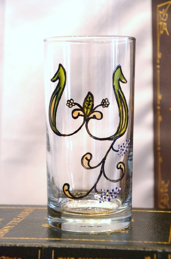 "Celtic Style Illuminiated Letter - Initial ""W"" - Handpainted 15 1/2 oz. Glass"