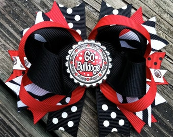 GEORGIA BULLDOGS Hair Bow Boutique Style Bulldogs Bottle Cap Bow with Zebra Print