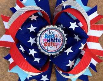 STARS & STRIPES Patriotic Hair Bow