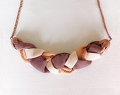 Mauve, nude and ballerina pink braided necklace