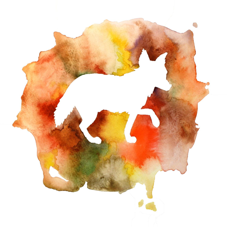 Fox Watercolor Art Print In Earth Tones