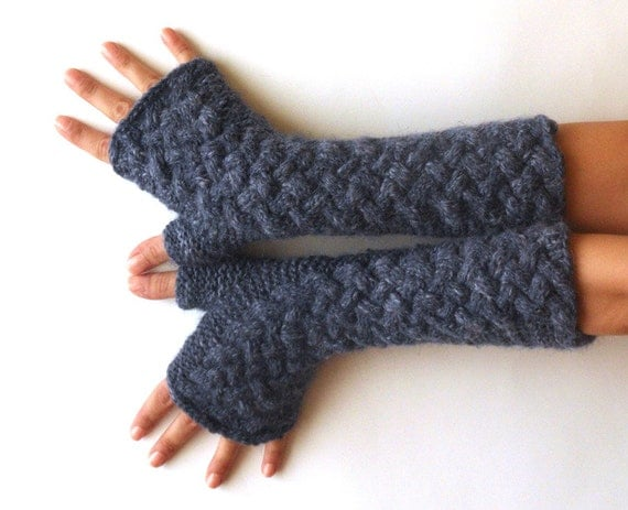 Knitting Pattern Cashmere Gloves : Knit Long Fingerless Gloves Cashmere Cable Gloves Wool Hand