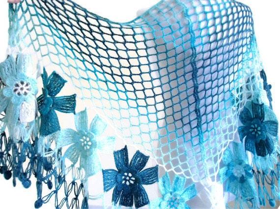 Capri,Deep sky blue,Cobalt blue,Ivory flower shawl,fashion,gift, valentine,  winter trends, fashion, 2012