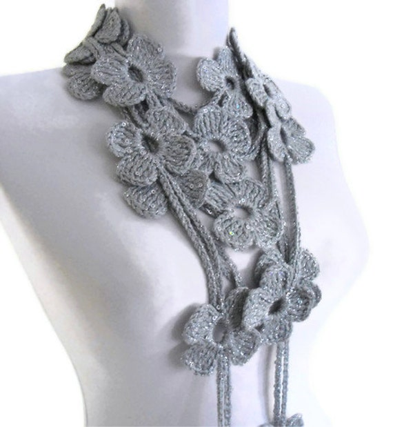Flower Lariat Scarf, silver sequin scarf  with crochet flower patterns , hand-made,fashion,gift, mothers day,unique