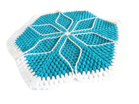 Handmade  Crochet Dishcloths Washcloths, gift, mothers day,  blue and white, unique