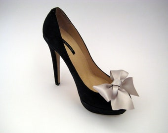 Oyster Satin Bow Shoe Clips FREE SHIPPING