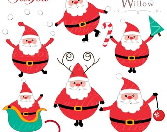 SANTA  - Clip art for set in Jpeg and Png files. INSTANT DOWNLOAD.