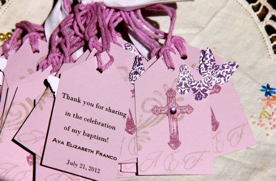 Baptism Tags Gift Tags Easter Favor Tags Shower Favor Tags Labels Hang Tags-Vintage. Lavender.. Butterfly set of 30
