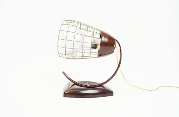 Mid Century Industrial Brown Lamp by General Electric