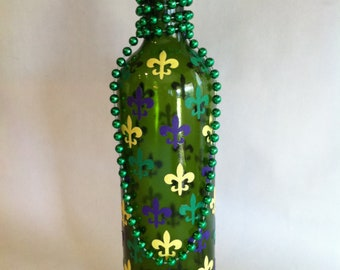 Marti Gras Inspired Bottle Vase