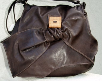 Chocolate Mocha Cafe Brown Hobo Shoulderbag with Wood Button & Brown Leather Accent