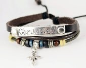 Cross Bracelet Leather Bracelet Charm Bracelet Bangle Bracelet with  Cross and Metal data plate (B89)