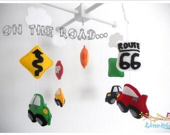 Baby Crib Mobile-Cars and Road Signs Mobile-custom Made Mobile-Cars Mobile-Route 66