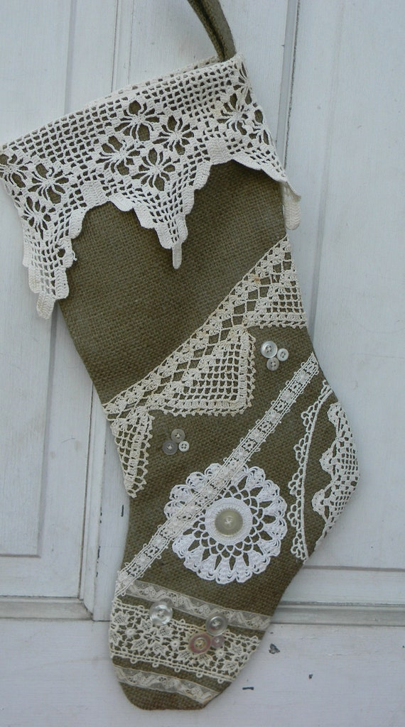 Christmas Burlap and Lace Stocking