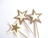 Star Cupcake Toppers, Party Decor, Kraft, Cream, Set of 12
