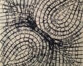 "Sale . Minimalist Art Etching Print: Path (In Navy Blue) . Print Size 12"" x 12"" . Unframed"