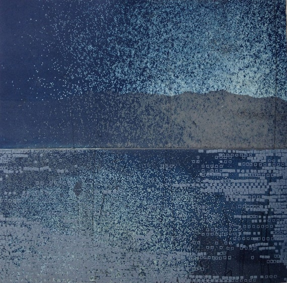 Etching Print/ Landscape Art/Navy Blue Home Decor: Striation 31